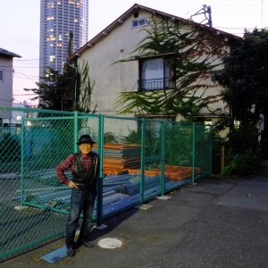 Iwase-san in front of the house where he built Voice Electric Guitars. Most of the neighbouring houses have already been torn down to make a new roadway for the Tokyo Olympics. Iwase-san's house is scheduled to be torn down as well.
