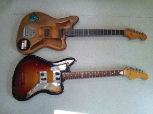 Side by side comparison of a 1959 Fender Jazzmaster (top) and 1965 Mory Jazzmaster (bottom) (note that the neck inlays on the Mory at bottom have been modified)